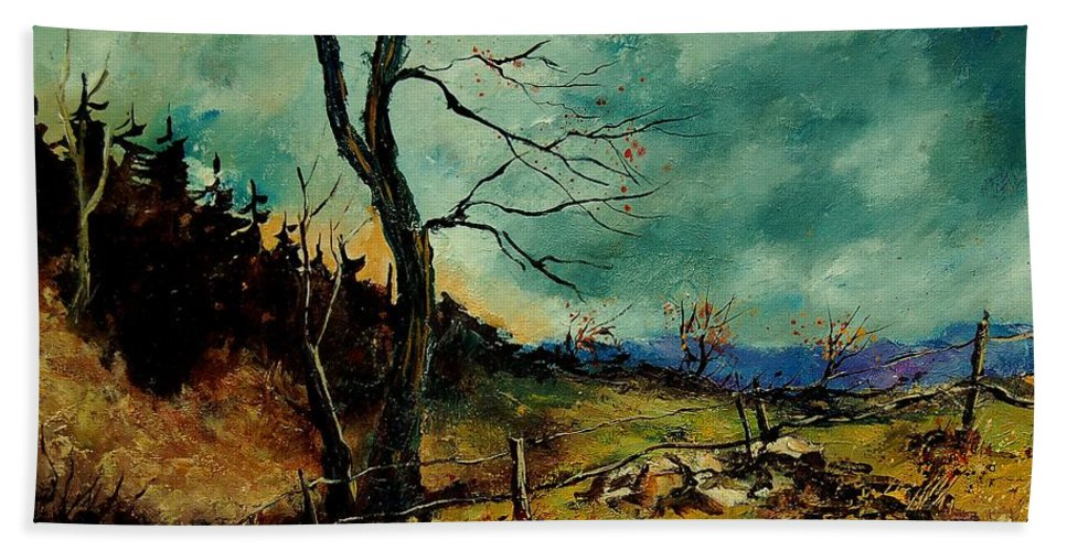 Tree Bath Towel featuring the painting Fall Landscape 56 by Pol Ledent
