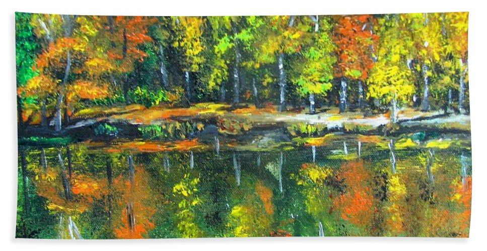 Fall Hand Towel featuring the painting Fall Landscape Acrylic Painting Framed by Natalja Picugina