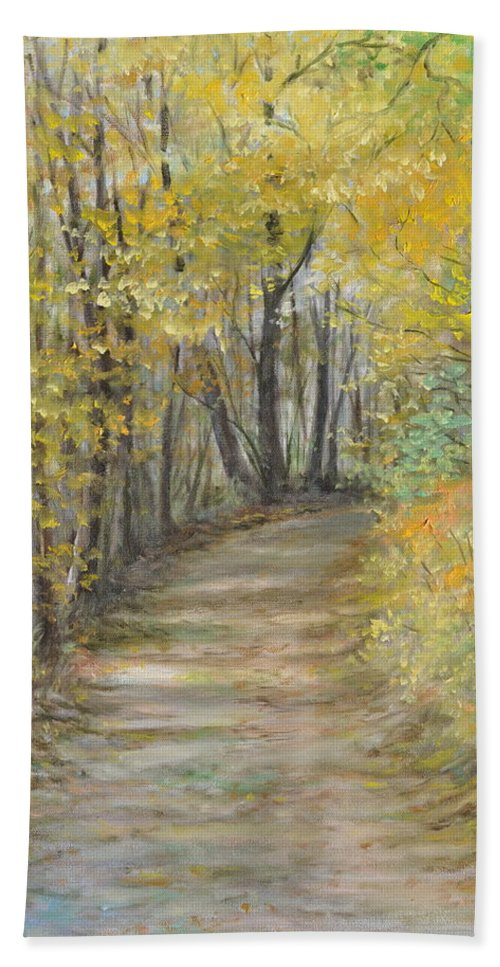Fall Scene Painting For Sale Bath Sheet featuring the painting Fall Lane by Penny Neimiller