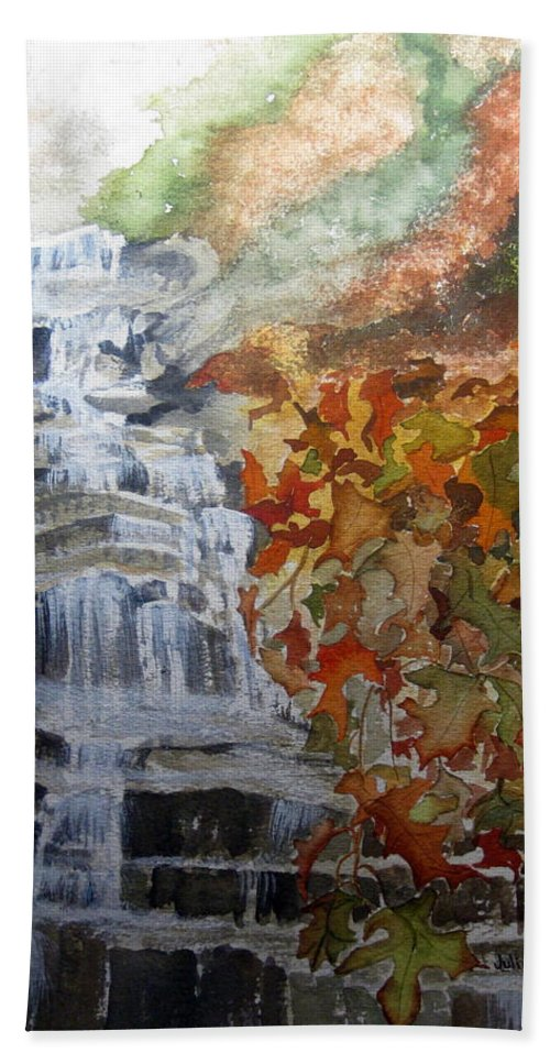 Water Fall Hand Towel featuring the painting Fall Leaves by Julia RIETZ