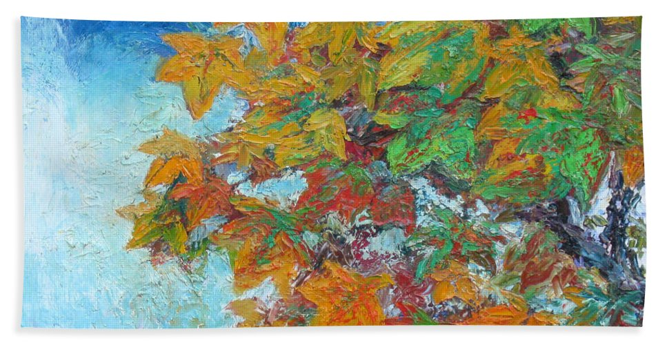 Fall Bath Towel featuring the painting Fall Leaves by Meihua Lu