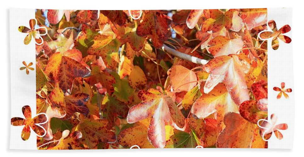 Fall Leaves Bath Sheet featuring the photograph Fall Leaves With Framing by Carol Groenen