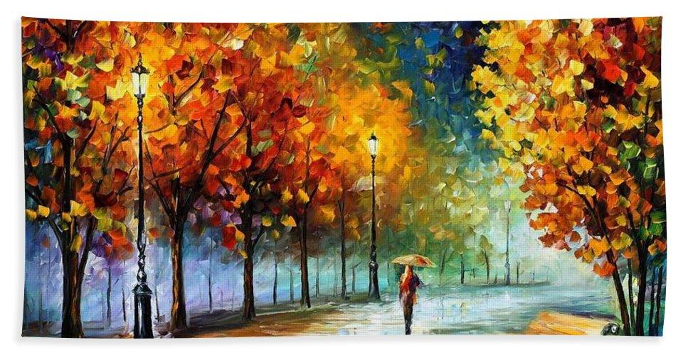 Afremov Bath Sheet featuring the painting Fall Marathon by Leonid Afremov