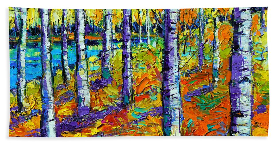 Fall Mood Hand Towel featuring the painting Fall Mood by Mona Edulesco