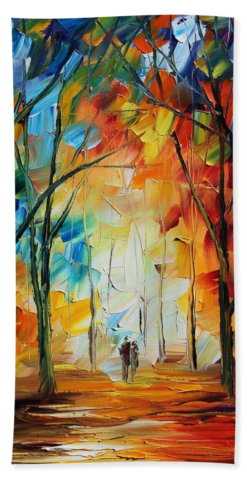 Afremov Hand Towel featuring the painting Fall New Original by Leonid Afremov