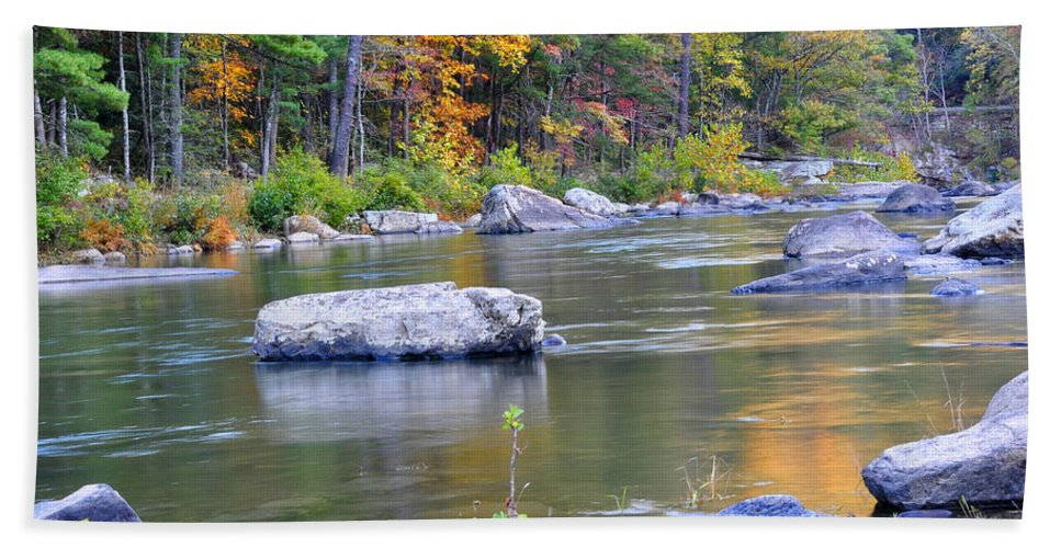 Maury River Bath Sheet featuring the photograph Fall On The Maury by Todd Hostetter