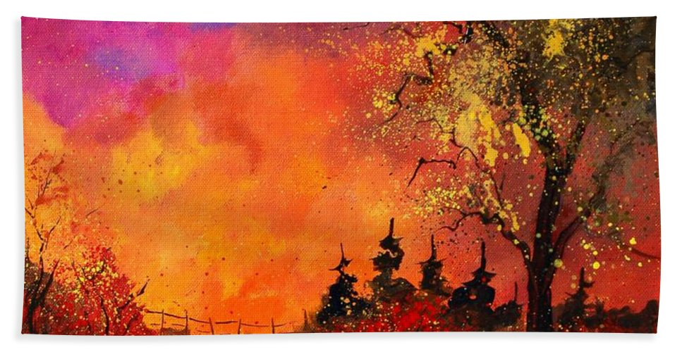River Hand Towel featuring the painting Fall by Pol Ledent