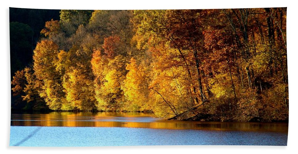 Trees Bath Sheet featuring the photograph Fall Reflections Of Indiana by Carol Milisen