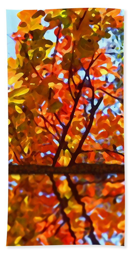 Trees Bath Towel featuring the painting Fall Reflextion by Amy Vangsgard