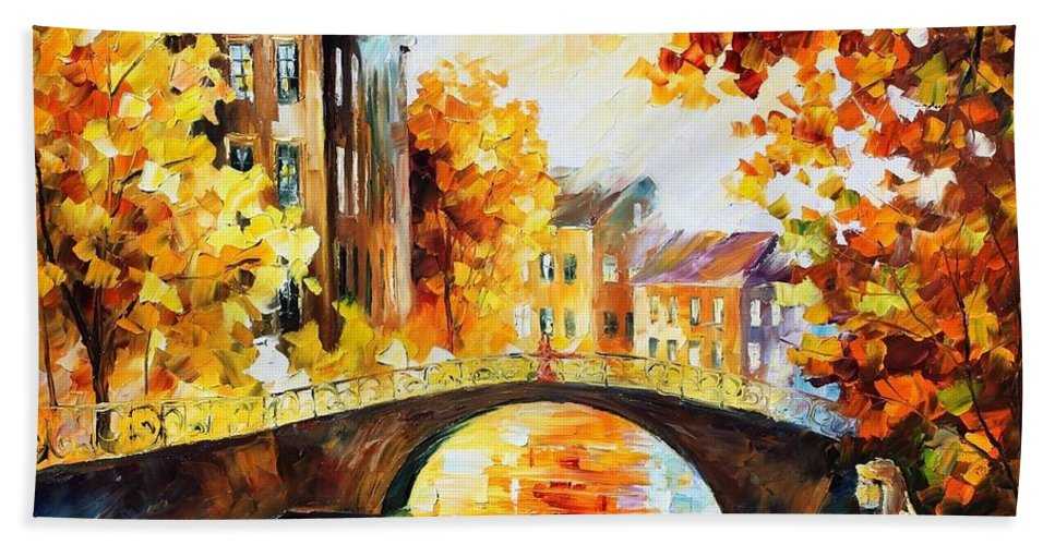 Afremov Hand Towel featuring the painting Fall River Bridge by Leonid Afremov