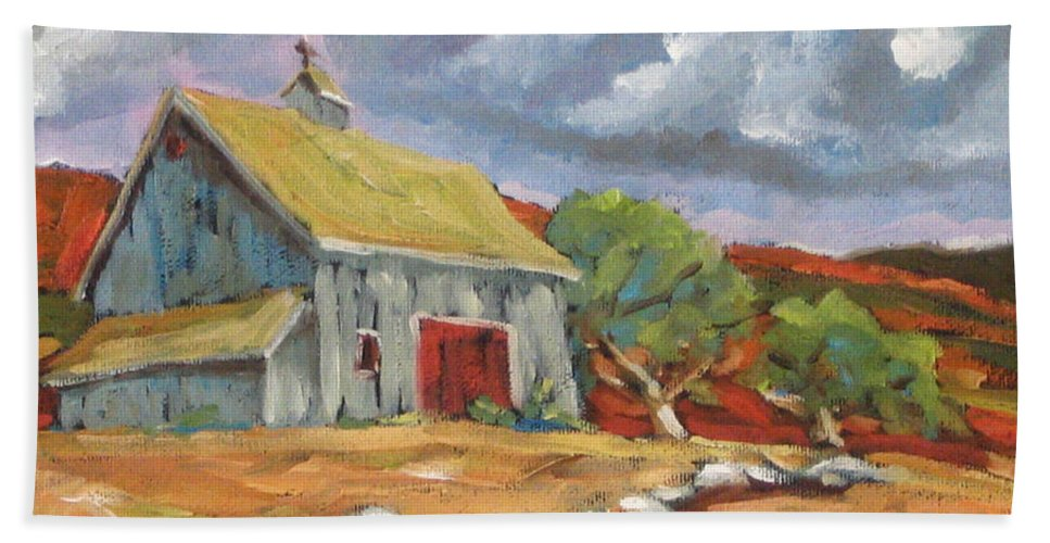 Farm Hand Towel featuring the painting Fall Scene by Richard T Pranke