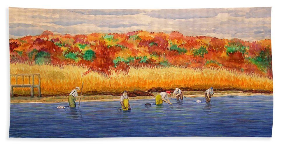 Watercolor Hand Towel featuring the painting Fall Shellfishing In New England by Charles Harden