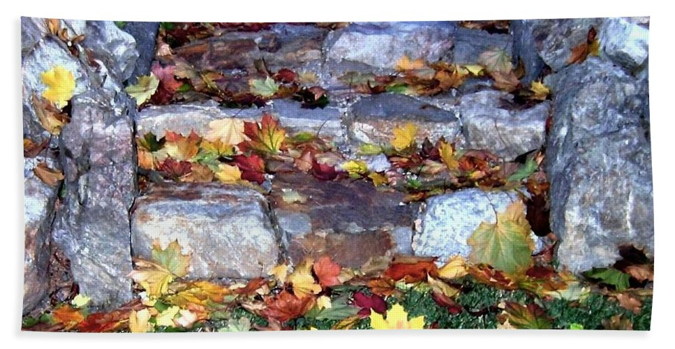 Rock Stairway Bath Towel featuring the photograph Fall Stairway by Will Borden