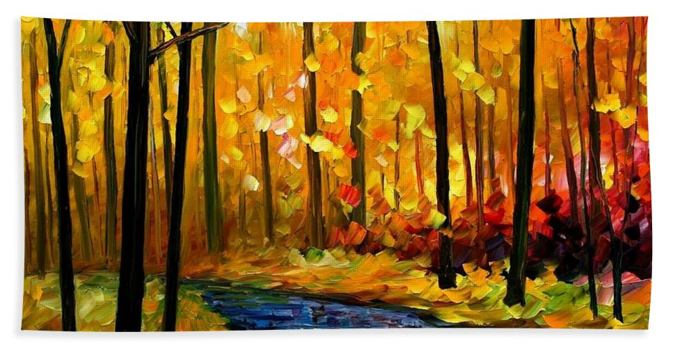 Afremov Bath Sheet featuring the painting Fall Stream by Leonid Afremov