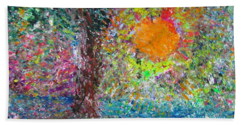 Playful Bath Sheet featuring the painting Fall Sun by Jacqueline Athmann