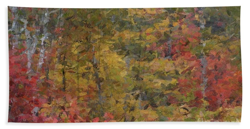 Autumn Hand Towel featuring the digital art Fall Tapestry by David Boudreau