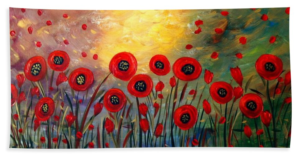 Flowers Bath Towel featuring the painting Fall Time Poppies by Luiza Vizoli