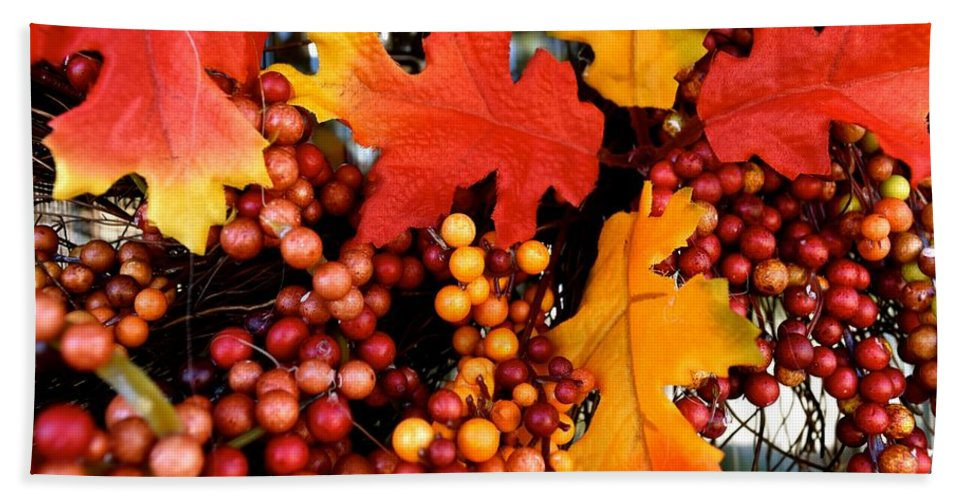 Fall Hand Towel featuring the photograph Fall Wreath by Bri Lou