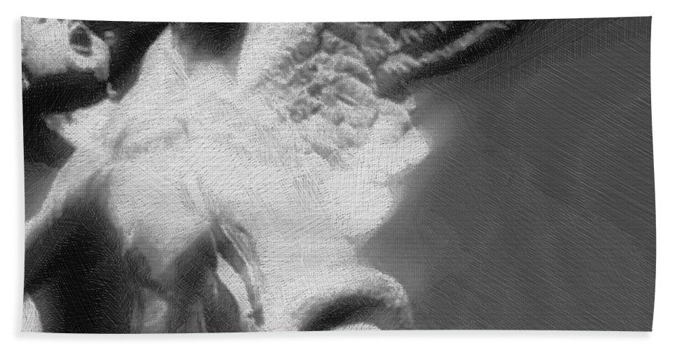 Angel Bath Sheet featuring the mixed media Fallen Angel by Tony Rubino