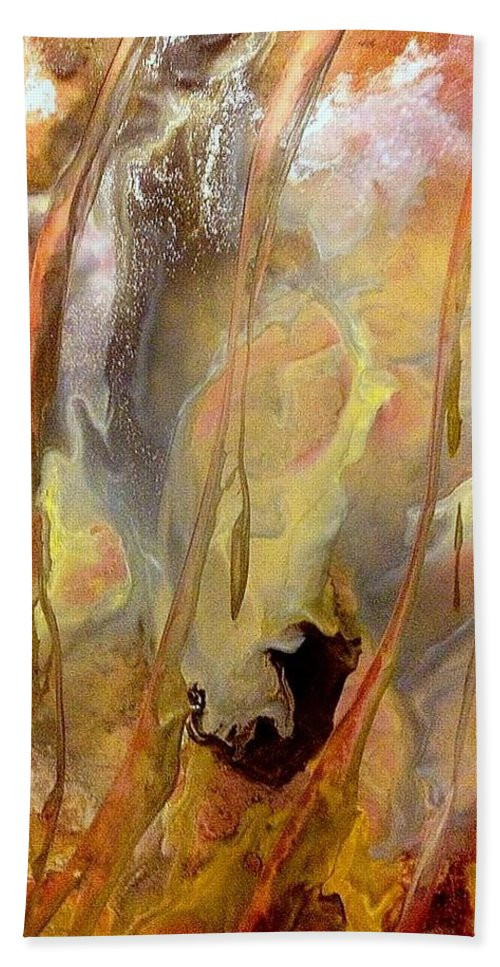 Encaustic Hand Towel featuring the painting Fallen by Christine Johanns