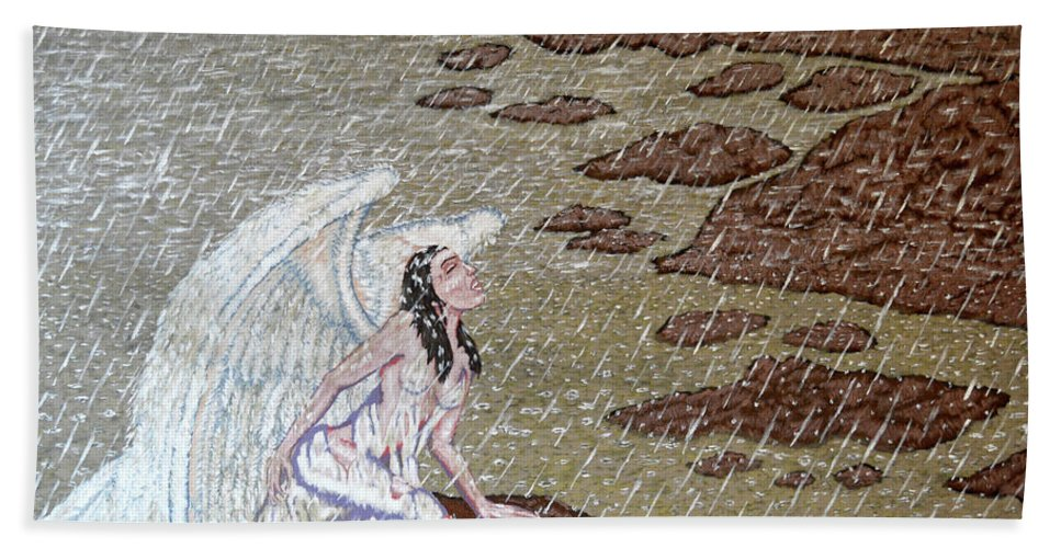 Angel Bath Sheet featuring the painting Fallen by Steve Moutray