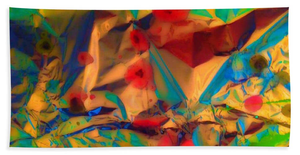 Abstract Bath Sheet featuring the painting Falling Asleep In The Poppies by Elle Justine