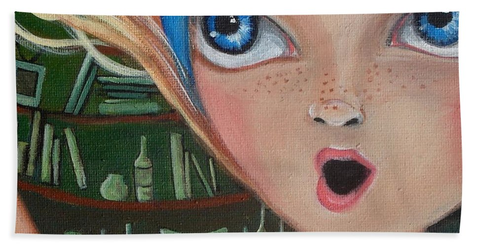 Alice In Wonderland Hand Towel featuring the painting Falling Down The Rabbit Hole By Jaz by Jaz Higgins