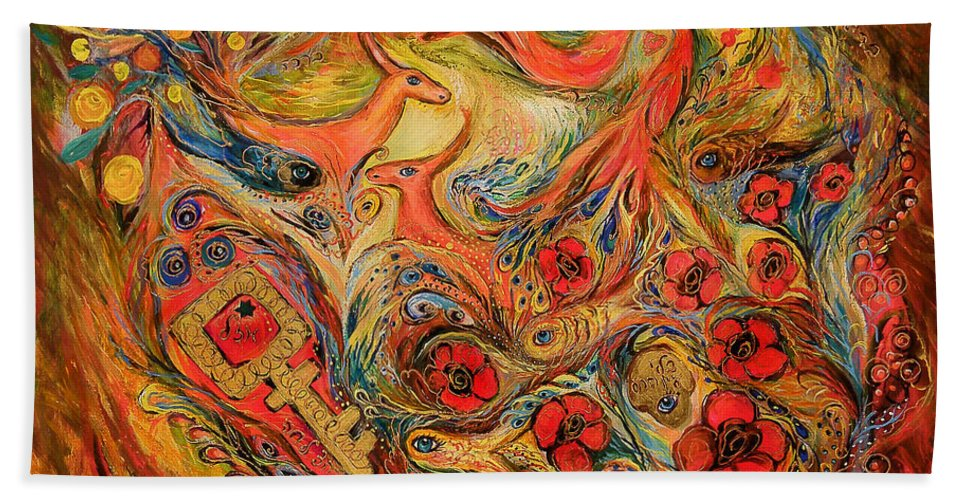 Original Bath Sheet featuring the painting Falling In Love by Elena Kotliarker