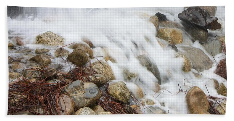 Rocks Hand Towel featuring the photograph Falling On Rocks by Carol Groenen