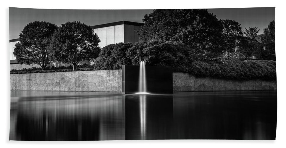 Falling Water Blank And White Peaceful Serene Hand Towel featuring the photograph Falling Water by Scott Moore