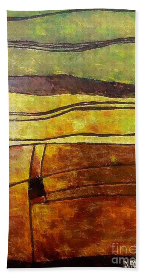 Landscape Autumn Hand Towel featuring the painting Fallow Ground by Dragica Micki Fortuna