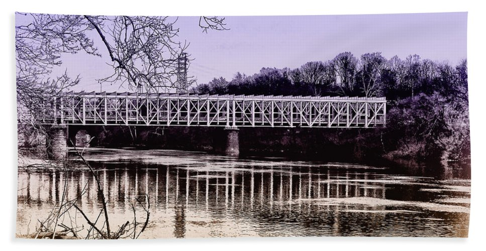 Philadelphia Bath Sheet featuring the photograph Falls Bridge by Bill Cannon