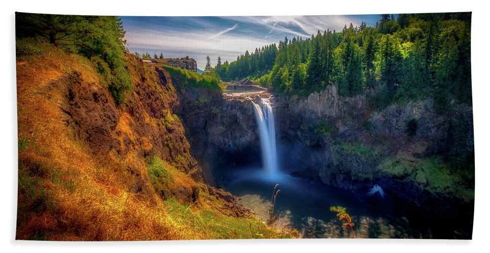 Waterfall Bath Sheet featuring the photograph Falls From Up High by Andrew Zuber
