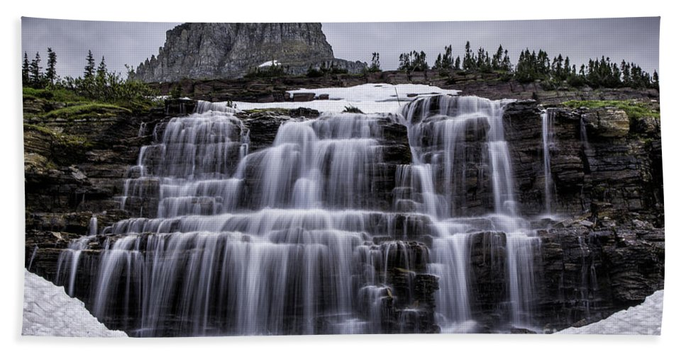 Glacier Hand Towel featuring the photograph Falls In Glacier 1 by Timothy Hacker