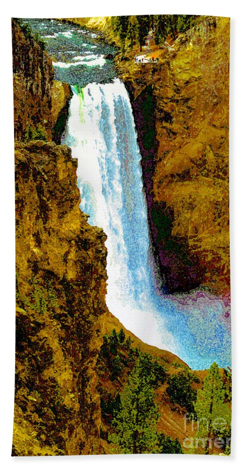 Yellowstone National Park Bath Sheet featuring the painting Falls Of The Yellowstone by David Lee Thompson