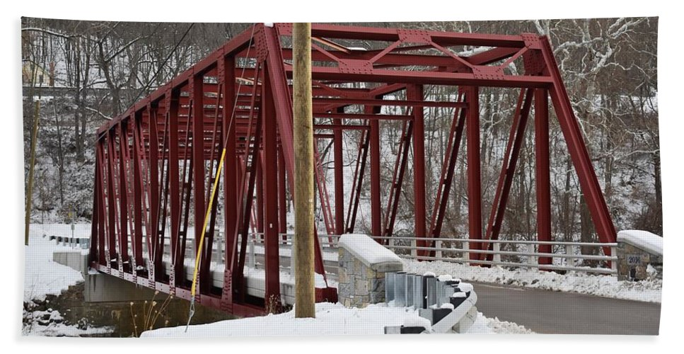 Winter Hand Towel featuring the photograph Falls Village Bridge 1 by Nina Kindred