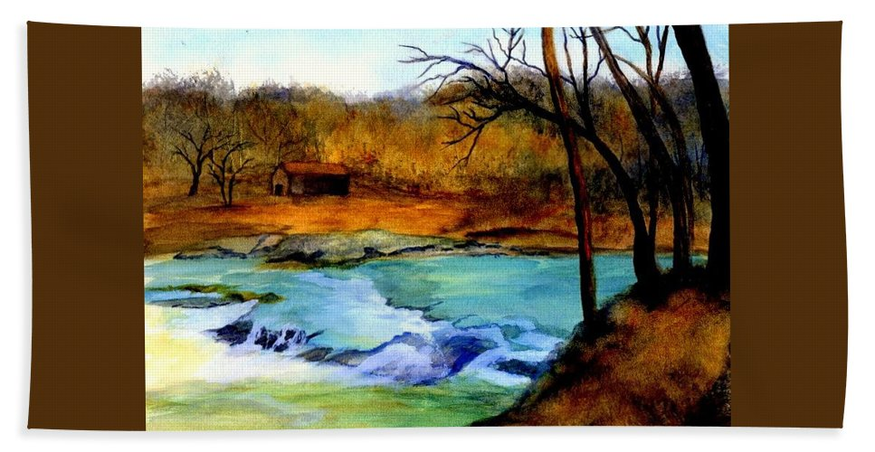 Waterfall Hand Towel featuring the painting Fallsburg Ky Falls by Gail Kirtz