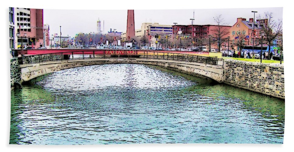 2d Bath Sheet featuring the photograph Fallswalk And Shot Tower by Brian Wallace