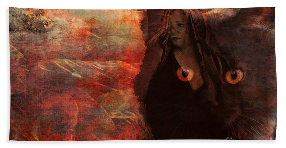 Witch Hand Towel featuring the digital art Familiar 2015 by Kathryn Strick