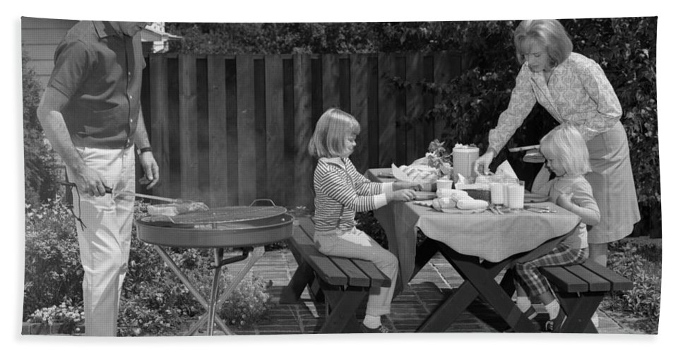 1960s Bath Sheet featuring the photograph Family Bbq, C.1960s by H. Armstrong Roberts/ClassicStock