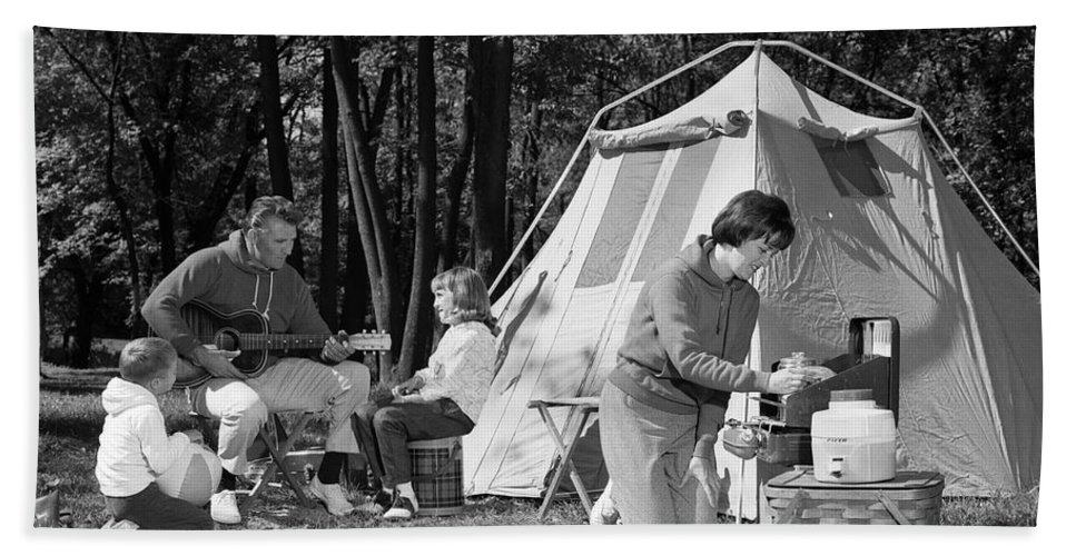 1960s Bath Sheet featuring the photograph Family Camping, C.1970s by H. Armstrong Roberts/ClassicStock