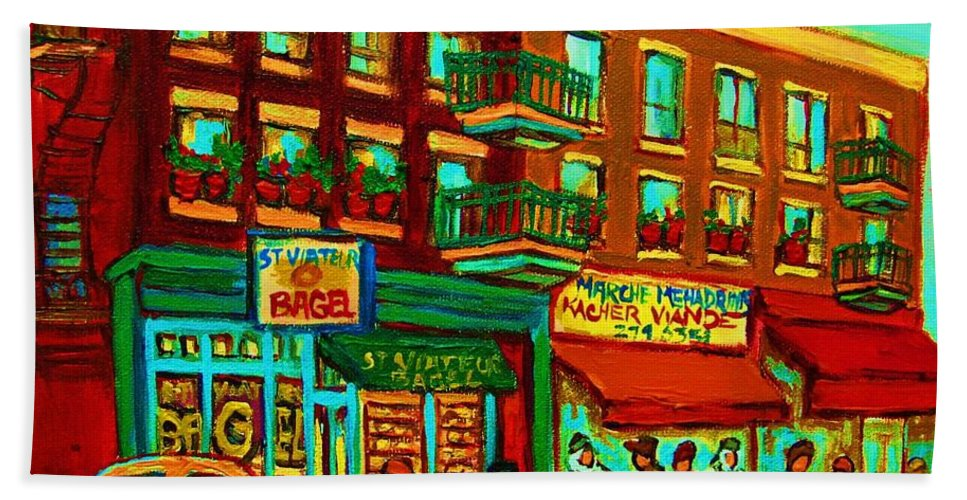 St Viateur Bagel Shop Montreal Street Scenes Bath Towel featuring the painting Family Frolic On St.viateur Street by Carole Spandau