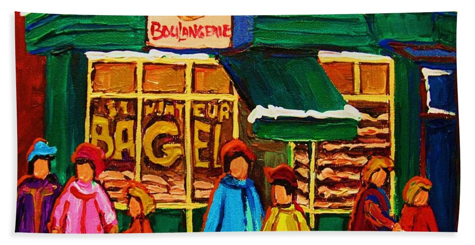 St.viateur Bagel Hand Towel featuring the painting Family Fun At St. Viateur Bagel by Carole Spandau
