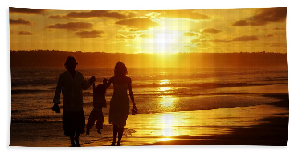 Beach Bath Sheet featuring the photograph Family Walk On Beach by Jill Reger