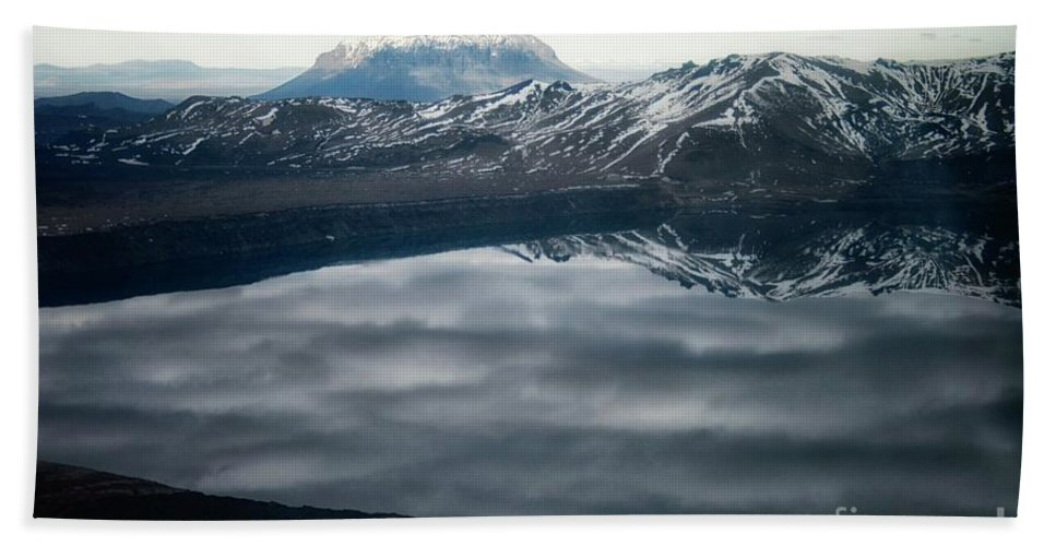 Askja Hand Towel featuring the photograph Famous Mountain Askja In Iceland by Patricia Hofmeester