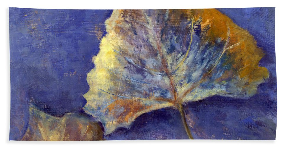 Leaves Bath Sheet featuring the painting Fanciful Leaves by Chris Neil Smith