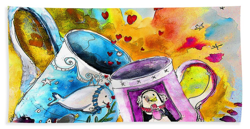 Cafe Crem Hand Towel featuring the painting Fancy a coffee by Miki De Goodaboom