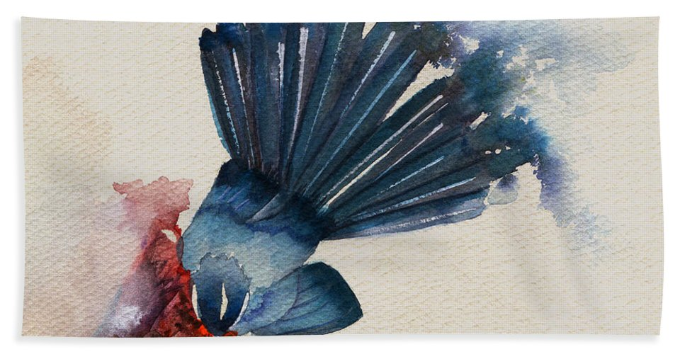 Fantail Flycatcher Prints Hand Towel featuring the painting Fantail Flycatcher by Francisco Ventura Jr