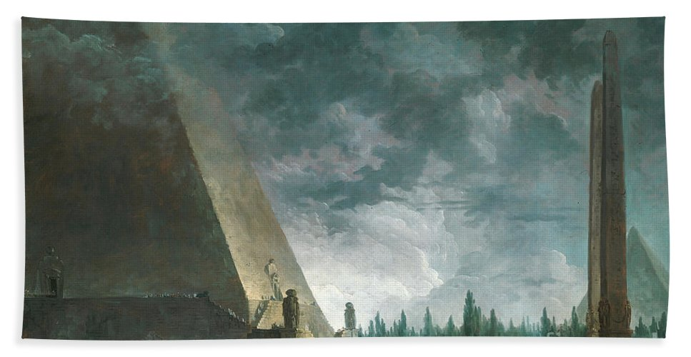 Egypt Bath Sheet featuring the painting Fantaisie Egyptienne by Hubert Robert