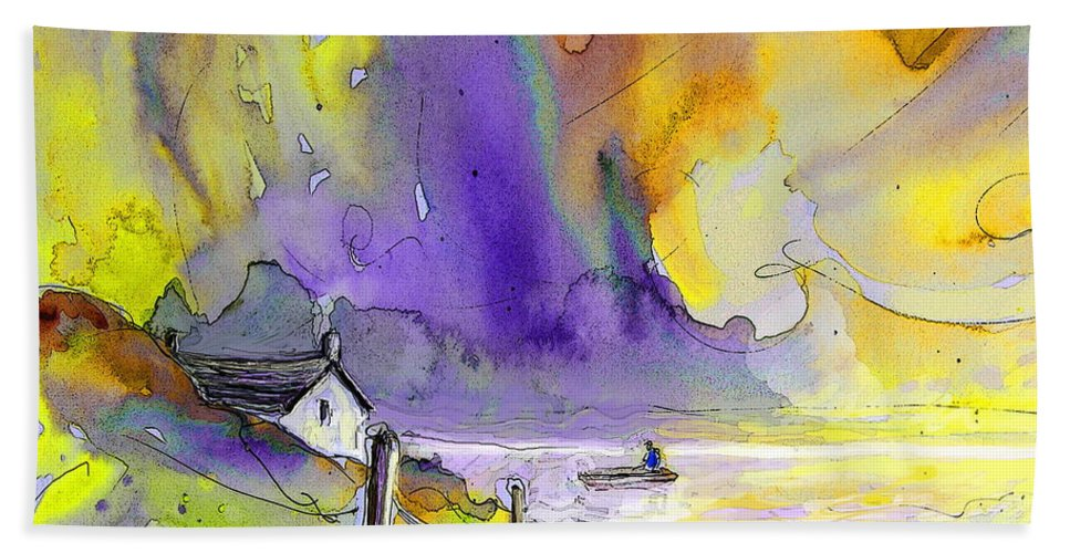 Fantasy Seascape Bath Sheet featuring the painting Fantaquarelle 03 by Miki De Goodaboom